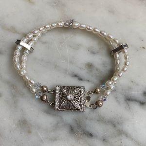 Handmade Pearl Bracelet with Rhinestone Box Clasp